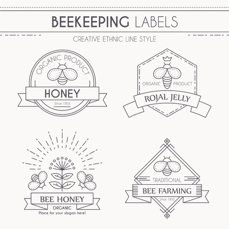 outlined isolated: Collection of honey and beekeeping labels. Creative thin line style. Minimalistic outlined bee farming emblems. Monochrome, isolated