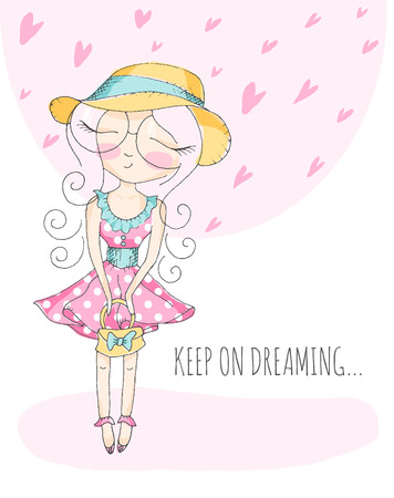 closed eyes: Cute little girl in big round shape eyeglasses dreaming with closed eyes. Romantic vector illustration. Pastel color palette