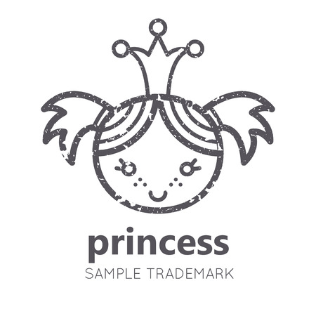 babyish: Babyish icon with little girl (baby princess) in flat linear style. Monochrome, isolated. Grunge texture