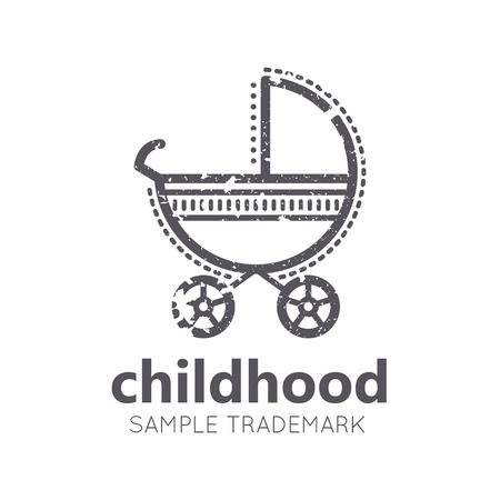 babyish: Babyish icon with Baby Stroller in flat linear style. Monochrome, isolated. Grunge texture Illustration