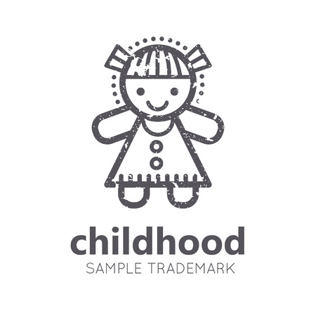 babyish: Babyish icon with little girl (doll) in flat linear style. Monochrome, isolated. Grunge texture Illustration