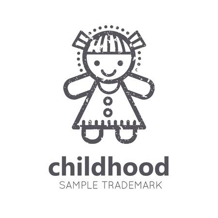 Dziecinny ikona z małą dziewczynką (lalka) w płaskiej stylu liniowego. Monochromatyczny, odizolowane. grunge tekstury