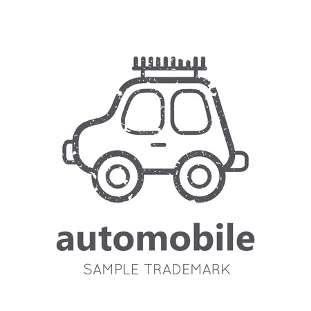 babyish: Babyish icon with toy car in flat linear style. Monochrome, isolated. Grunge texture Illustration