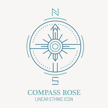 seafaring: Line style nautical wind rose illustration. Compass rose minimalistic outlined icon. Travel navigation design