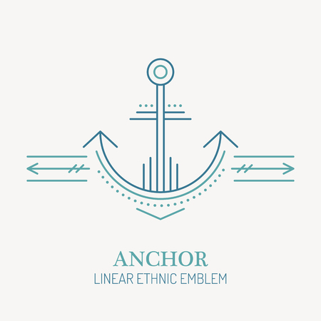 seafaring: Line style nautical emblem of anchor. Minimalistic outlined icon. Seafaring design Illustration