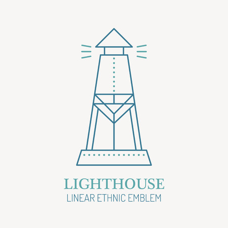 Line style nautical emblem - lighthouse illustration. Minimalistic outlined icon. Travel navigation design