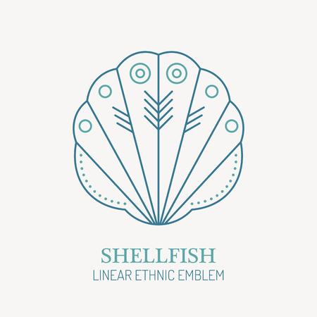 scallop: Line style nautical emblem - shellfish illustration. Sea scallop minimalistic outlined icon. Sea vacation and sea voyaging design.