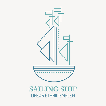 seafaring: Line style nautical emblem - sailing ship illustration. Minimalistic outlined icon of ship navigation. Seafaring and voyaging design. Illustration
