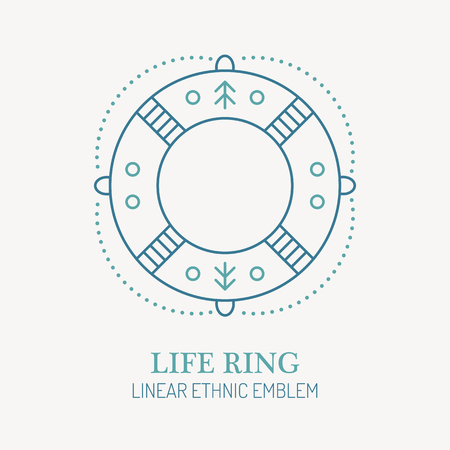 Line style nautical emblem - life ring illustration. Rescue life minimalistic outlined icon. Seafaring and voyaging design.