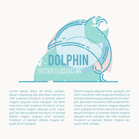and marine life: Retro style marine life illustration - jumping dolphin. Minimalistic nautical background with grunge texture. Elegant sea mammal design element.