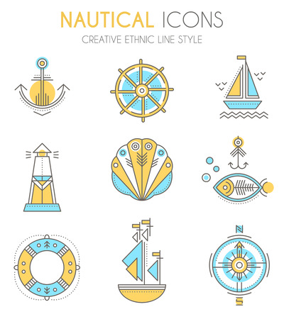 lighthouse beam: Nautical icon set. Collection of creative line style design elements. Minimalistic flat design with thin strokes