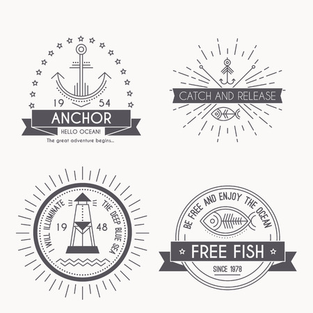 Set of nautical seafaring badges Illustration