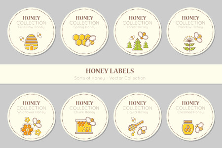 creamed: Vector label or sticker template with honey emblems. Natural honey tags collection (sorts of honey - pure raw, spring, chunk, meadow, wildflower, forest, liquid, creamed honey). Warm color palette