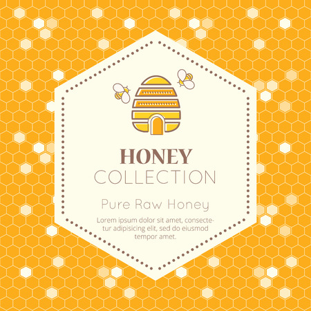 tints: Vector packaging template with seamless patterns. Natural honey collection (pure raw honey). Warm color palette of golden tints Illustration