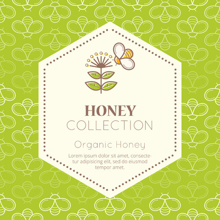 packaging template: Vector packaging template with seamless patterns. Natural honey collection (organic honey). Warm color palette of fresh green tints