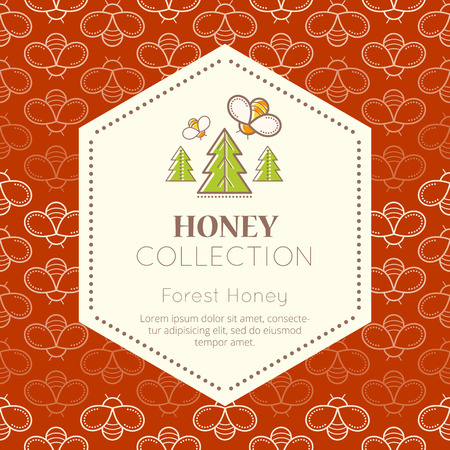 honeyed: Vector packaging template with seamless patterns. Natural honey collection (forest honey). Warm color palette of dark honey tints Illustration