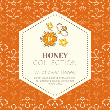 packaging template: Vector packaging template with seamless patterns. Natural honey collection (wildflower honey). Warm color palette of golden tints