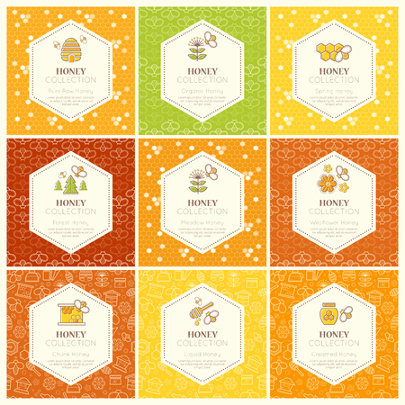 tints: Vector packaging template with seamless patterns. Natural honey collection (sorts of honey - forest honey, meadow honey, wildflower honey). Warm color palette of golden tints
