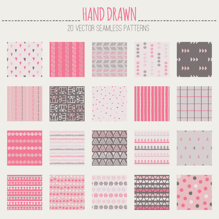 dashes: Big set of tribal seamless pattern with archaic geometric ornament. Primitive ethnic style with hand drawn endless texture. Desaturated romantic color palette (red, pink, off-white, brown)