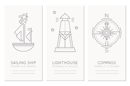 sailing ship: Nautical card design template with thin line style illustrations of sailing ship, lighthouse and compass rose. Minimalistic monochrome ship navigation tags