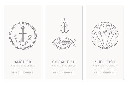 shellfish: Nautical card design template with thin line style illustrations of fish, fishing hook, anchor, shellfish. Minimalistic monochrome marine theme tags Illustration