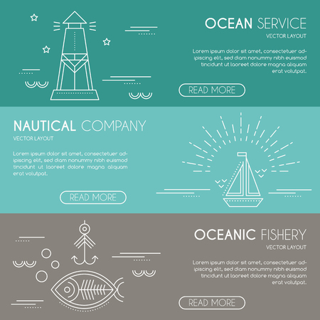 lighthouse beam: Nautical company, ocean service, oceanic fishery - business banner design template with thin line style illustration of lighthouse, sailboat, fish with fishing hook. Place for your text.