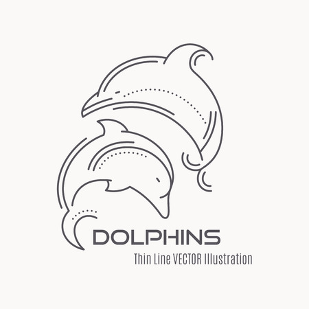 mammals: Line style nautical emblem - jumping dolphins vector illustration. Minimalistic outlined emblem. Elegant sea mammals design. Illustration