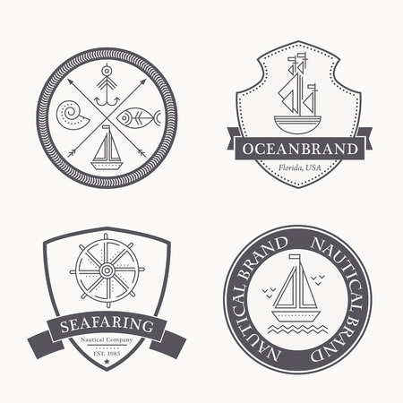 Set of nautical seafaring badges, labels or logos. Creative thin line design. Monochrome vector illustration with inspirational sample text Illustration