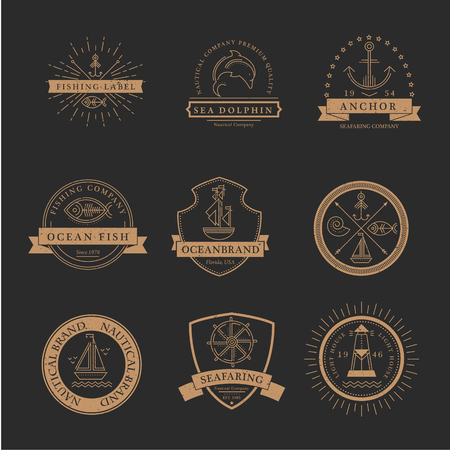 seafaring: Set of nautical seafaring badges, labels or logos. Creative thin line design. Gold on black vector company brand with sample text. Textured (easy to remove)