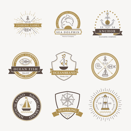 Set of nautical seafaring badges, labels or logos. Creative thin line design. Elegant gold and dark brown vector company brand with sample text
