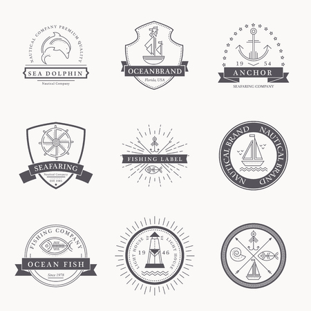 seafaring: Set of nautical seafaring badges, labels or logos. Creative thin line design. Black on whitevector company brand with sample text. Textured (easy to remove)