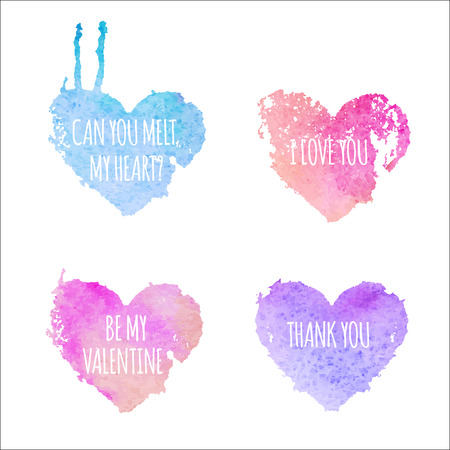 Set of 4 heartshaped badges with love messages. Original design - stylized blue shape of heart with a white text. Can you melt my heart, i love you, be my valentine, thank you - message on a watercolor texture