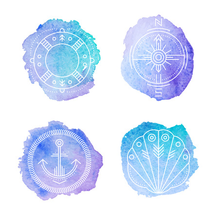 Set of 4 nautical badges with life buoy, shellfish, anchor and compass rose. Original design - stylized blue stamp with a white linear illustration. Seafaring signs on colorful watercolor texture