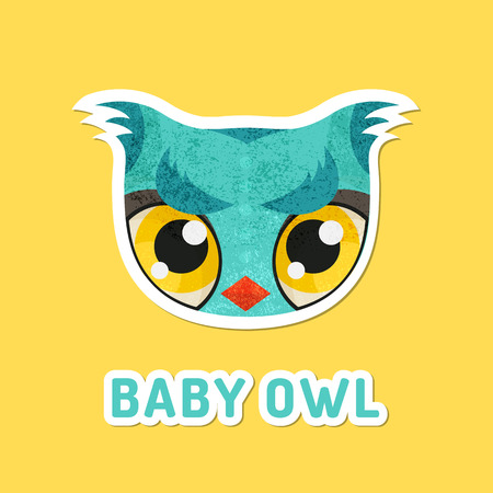 extremely: Flat animal muzzle with grunge texture. Turquouse baby owl - colorful childish illustration of snout with extremely big eyes. Stickers for children