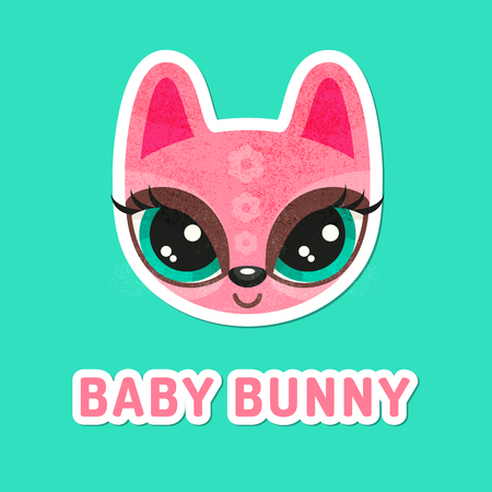 snout: Flat animal muzzle with grunge texture. Pink bunny girl - colorful childish illustration of snout with extremely big eyes. Stickers for children