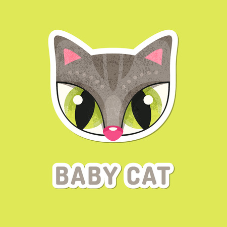 extremely: Flat animal muzzle with grunge texture. Grey baby cat - colorful childish illustration of snout with extremely big eyes. Stickers for children