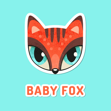 snout: Flat animal muzzle with grunge texture. Red baby fox - colorful childish illustration of snout with extremely big eyes. Stickers for children Illustration