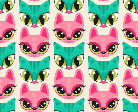 フラット スタイルでかわいい動物グリグリとシームレスなパターン。海緑の猫とピンクのバニー - 非常に大きな目でカラフルな動物の鼻