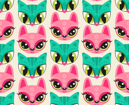 Seamless pattern with cute animal muzzles in flat style. Sea green cat and pink bunny - colorful animal snouts with extremely big eyes
