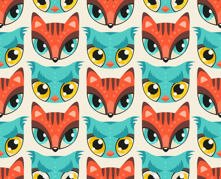 Seamless pattern with cute animal muzzles in flat style. Red fox and blue owl - colorful animal snouts with extremely big eyes Illustration
