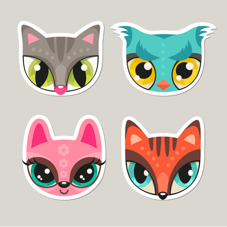 cutie: Set of cute animal muzzles in flat style. Cat, owl, bunny and fox - colorful childish illustrations of animal snouts with extremely big eyes. Stickers for children