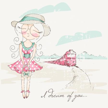Niña linda soñando con los ojos cerrados tren cerca de ejecución. ilustración vectorial romántica. paleta de colores en colores pastel