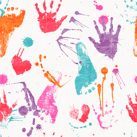 devilment: Vector seamless pattern with human footprints, palm prints, paint stains and blots. Cute steps drawn by paint. Colorful texture