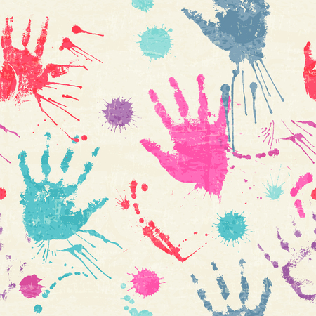 devilment: Vector seamless pattern with human palm prints, paint stains and blots. Cute design drawn with watercolors. Colorful texture for consumer industry design