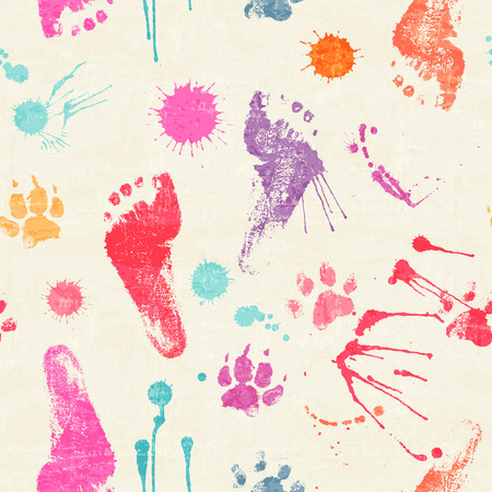 devilment: Vector seamless pattern with paw and human footprints, paint stains and blots. Cute steps drawn with watercolors. Colorful texture for consumer industry design