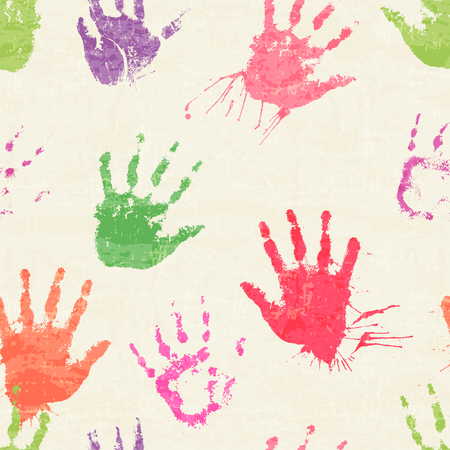 devilment: Vector seamless pattern with human palm prints, paint stains and blots. Cute hands drawn by paint. Colorful texture Illustration