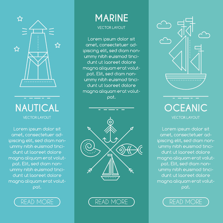 Nautical company, ocean service, oceanic fishery - business banner design template with thin line style illustration of lighthouse, sailship, fish, fishing hook. Place for your text.