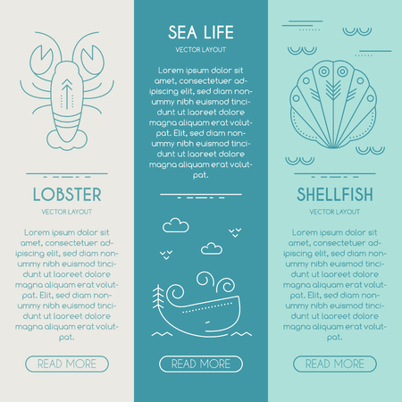 business life line: Sea life, lobster, shellfish, whale - business banner design template with thin line style illustration of sea animals. Place for your text. Illustration