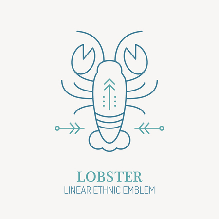 crustacean: Line style seafood emblem - lobster illustration. Minimalistic outlined icon of crustacean. Marine life Illustration