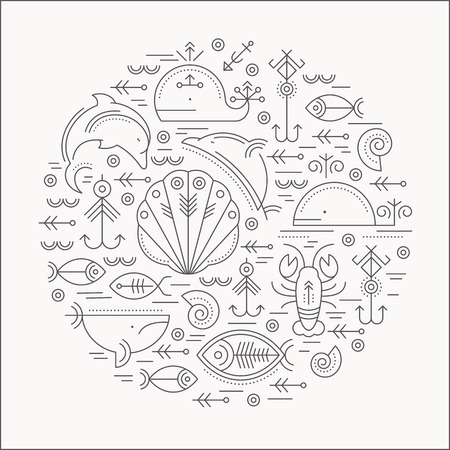 cachalot: Vector illustration with outlined signs of marine animals forming a circle. Black and white color palette. Minimalistic design layout for business Illustration